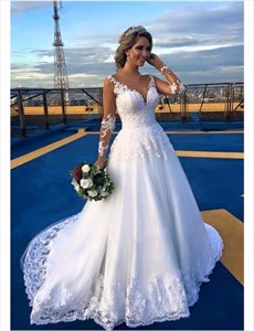 White V Neck Lace Applique Embellished Wedding Dress With Sheer Sleeve
