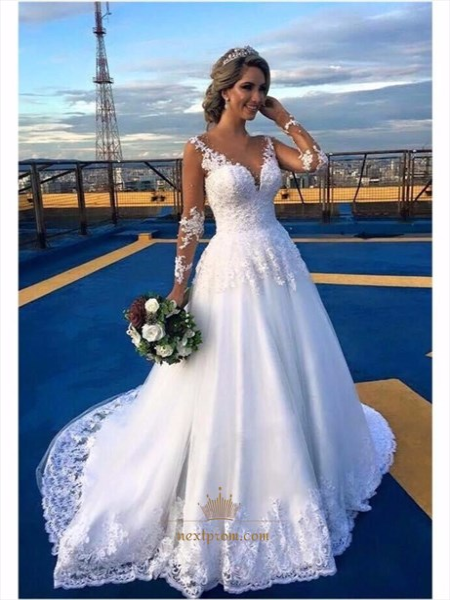 White V Neck Lace Applique Embellished Wedding Dress With Sheer Sleeve