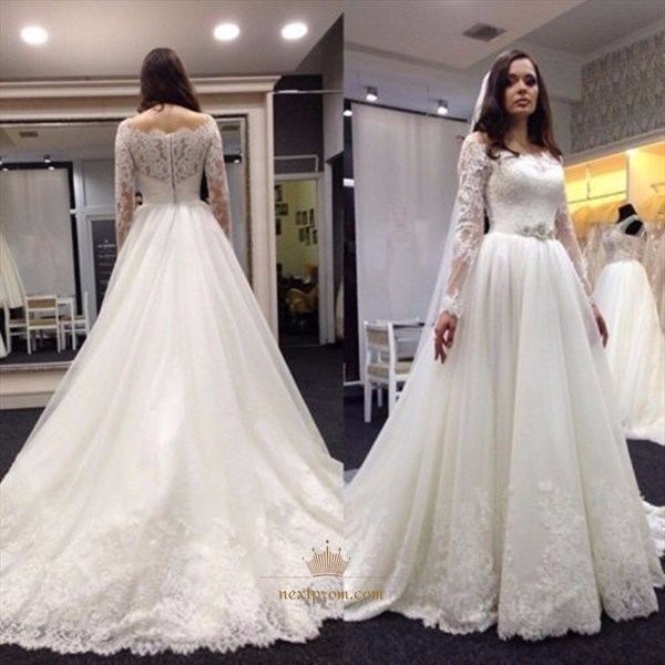 Ivory Off The Shoulder Lace Embellished Wedding Dress With Long Sleeve
