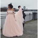 Beautiful Light Pink Illusion Off The Shoulder Lace Top Wedding Dress