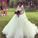 Elegant Illusion Long Sleeve Lace Bodice Tulle Ball Gown Wedding Dress