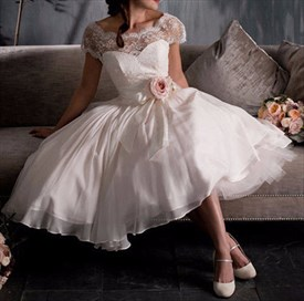 White Cap Sleeve Lace Embellished A-Line Tulle Ball Gown Wedding Dress