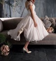 Illusion Lace Top Tea Length Wedding Dress With Cap Sleeve And Flower