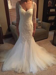 White V Neck Sheer Sleeve Lace Bodice Backless Mermaid Wedding Dress