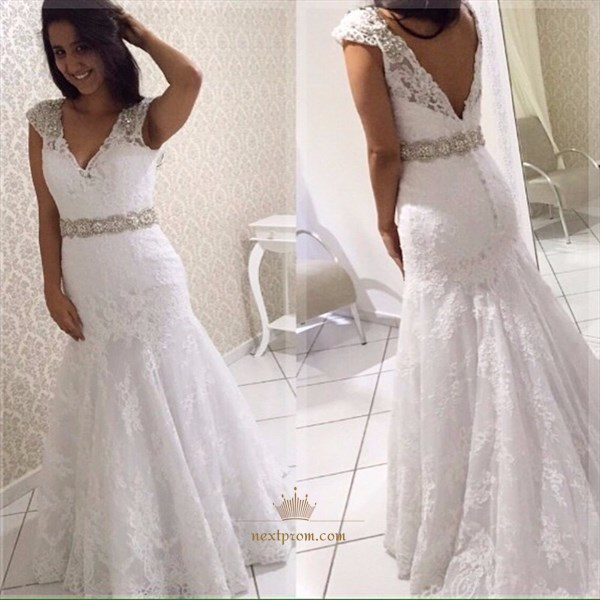 White V Neck Lace Overlay Mermaid Wedding Dress With Beaded Cap Sleeve