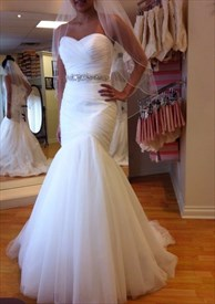 White Strapless Dropped Waist Mermaid Wedding Dress With Ruched Bodice