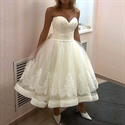 Tea Length Strapless Sweetheart Lace Embellished A-Line Wedding Dress