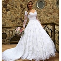 Elegant White Illusion Long Sleeve V Neck Lace Ball Gown Wedding Dress
