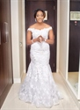 White Off The Shoulder Lace Applique Embellished Mermaid Wedding Dress