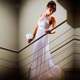 Simple White Sleeveless Lace Bodice A Line Floor-Length Chiffon Dress