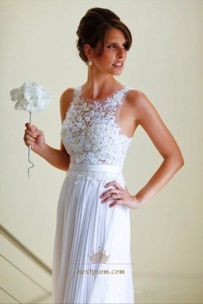 Simple White Sleeveless Lace Bodice A Line Floor-Length Chiffon Dress