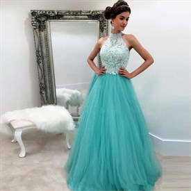 Turquoise Halter Lace Bodice Tulle Bottom Floor Length Evening Dress