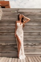 Spaghetti Strap Backless Lace Embellished Prom Dress With Side Slit