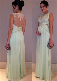 Light Green Sleeveless Ruched Chiffon Long Prom Dress With Sheer Back