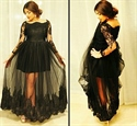 Black Long Sleeve Prom Dress With Lace Embellished And Tulle Overlay