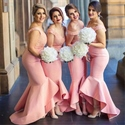 Peach Elegant Off The Shoulder Lace Bodice Mermaid Bridesmaid Dress