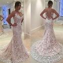 White Sleeveless Lace Overlay Sheath Mermaid Prom Dress With Sheer Top