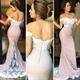 Elegant Off The Shoulder Lace Embellished Sheath Mermaid Prom Dress
