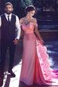Pink Off The Shoulder Sweetheart Lace Embellished Long Evening Dress