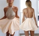Cute Halter Backless Short Party Dress With Sequin Embellished Bodice