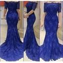 Elegant Royal Blue Off The Shoulder Short Sleeve Lace Mermaid Dress