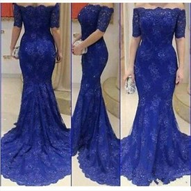 Elegant Royal Blue Off The Shoulder Short Sleeve Lace Mermaid Dress