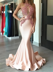 Pink Sleeveless Sheer Beaded Bodice Mermaid Floor Length Prom Dress