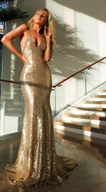 Champagne Spaghetti Strap Backless Sequin Mermaid Long Evening Dress