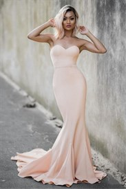 Simple Peach Strapless Sweetheart Mermaid Floor Length Evening Dress