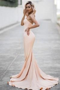 Simple Peach Strapless Sweetheart Mermaid Floor Length Evening Dress