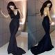 Black Spaghetti Strap Embellished Backless Mermaid Long Evening Dress