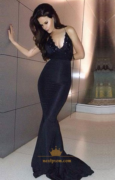 Black Spaghetti Strap Embellished Backless Mermaid Long Evening Dress