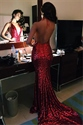 Red Deep V Neck Halter Backless Sequin Mermaid Prom Dress With Train