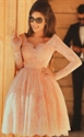 Lovely Pink Long Sleeve V Neck Knee Length Lace Homecoming Party Dress