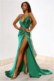 Green V Neck Spaghetti Strap Backless Side Split Long Evening Dress