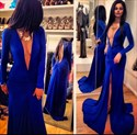 Royal Blue Deep V Neck Long Sleeve Mermaid Prom Dress With Open Back