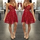 Simple Knee Length Burgundy Spaghetti Strap Fit And Flare Party Dress