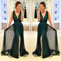 Dark Green Sleeveless Deep V-Neck Floor Length Evening Dress With Slit
