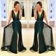 Dark Green Sleeveless Deep V-Neck Floor Length Evening Dress With Slit