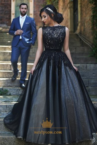 Black Sleeveless Tulle Ball Gown Formal Dress With Lace Embellished