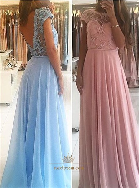Cap Sleeve Backless Chiffon Long Prom Dress With Lace Beaded Bodice