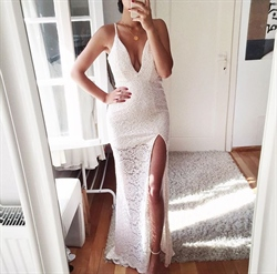 Simple White Spaghetti Strap Deep V Neck Side Slit Lace Evening Dress
