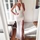 Simple White Spaghetti Strap Deep V Neck Side Slit Lace Evening Dress