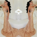 Champagne Strapless Sweetheart Sequin Sheath Mermaid Long Prom Dress