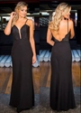 Black Spaghetti Strap Lace Bodice Backless Floor Length Evening Dress