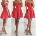 Watermelon Red Lace Off The Shoulder Satin Skirt Homecoming Mini Dress