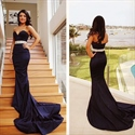 Black Strapless Sweetheart Mermaid Prom Dress With Embellished Waist