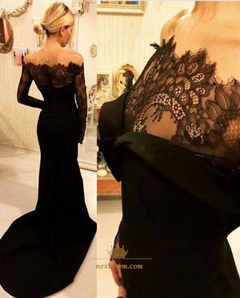 Black Off The Shoulder Mermaid Evening Dress With Illusion Lace Top