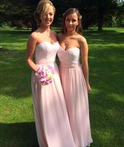 Light Pink Strapless Lace Bodice A Line Chiffon Long Bridesmaid Dress
