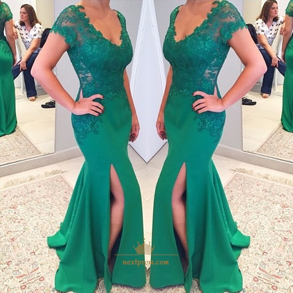 Green Lace Embellished V Neck Cap Sleeve Mermaid Gown With Side Slit
